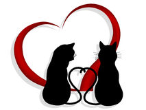 Cats in love. Silhouettes of two cats in love  - vector illustration Stock Photo