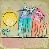Cats in love sitting on a roof. Doodle, ornamented, colorful, affectionate cats in love sitting on a roof Royalty Free Stock Photography