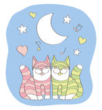 Cats' love and song Royalty Free Stock Photos