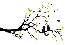 Cats in love on tree, vector Royalty Free Stock Images