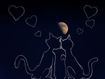 Cats in Love under the moon Royalty Free Stock Photo