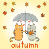 Cats in love under an umbrella. Autumn card template. Royalty Free Stock Images