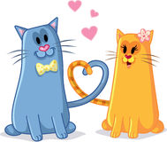 Cats in Love Vector Cartoon Illustration. Funny drawing of a couple of romantic felines Royalty Free Stock Photos