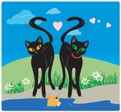 Cats in Love. Vector cat lovers on the lake with hearts and fish Royalty Free Stock Photography