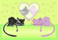 Cats in love. vector illustration Royalty Free Stock Photos