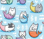 Seamless pattern with cats mermaid in kawaii style. Vector illustration. The cats mermaid under water. Seamless childish pattern for apparel, fabric, textile royalty free illustration