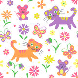 Cats and mice repeatable pattern Stock Photo