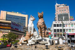Cats monument at the downtown Kuching, Malaysia. Stock Photography
