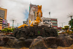 Cats monument at the downtown Kuching, Sarawak Malaysia. This monument is a landmark for Kuching city Stock Photo