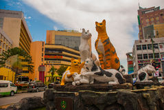 Cats monument at the downtown Kuching, Sarawak Malaysia. This monument is a landmark for Kuching city Stock Image