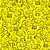 Cats and mouse seamless pattern Stock Photo