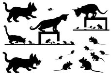 Cats And Mouse Silhouette. Illustration Stock Images