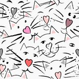 Cats mustache and nose in the shape of the heart, eyes and ears. In pink, gray, purple and black colors the seamless pattern on white background Stock Photography