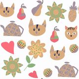 Cats nature seamless pattern in . It is located in swatc m Royalty Free Stock Photos