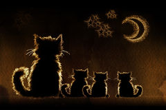 Cats in night vector illustration