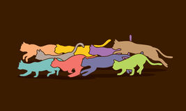Cats nine lives graphic. Vector Royalty Free Stock Image