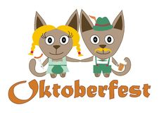 Cats Oktoberfest with a hat, a beer and sausage Stock Photography