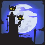 Cats On The Moon. Royalty Free Stock Images