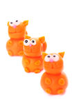 Cats. Orange cats made of polymer clay isolated on white background Royalty Free Stock Photos