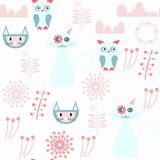 Cats and owls abstract vector seamless pattern. It is located in swatch menu. Colorful background for surface design royalty free stock photography