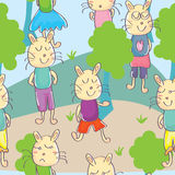 Cats Park Seamless Pattern_eps Royalty Free Stock Images