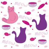 Cats pattern. Cat pattern with different elements Royalty Free Stock Photos