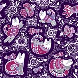 Seamless vector pattern - cute cats and birds with lace ethnic and floral ornament on violet background vector illustration
