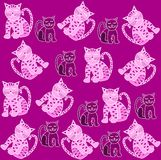 Cats pattern. Purple pattern with cute pink cats Royalty Free Stock Photography