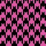 Cats Pattern in Black and Pink Magenta Stock Image