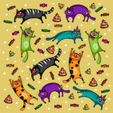 Cats pattern. With cakes on a beige background. Vector illustration in a childrens style. Authors drawing Stock Images