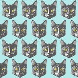 Cats pattern. Cartoon seamless animal wallpaper. For your design Vector Illustration
