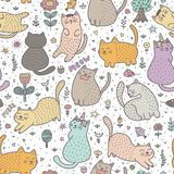 Cats_Pattern_Color1_00 ilustración del vector