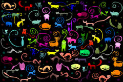 Cats pattern illustration. Illustration of lots of colorful cats with black background pattern Royalty Free Stock Photos