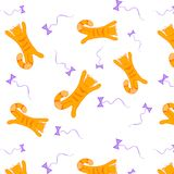 Cats. Pattern with red cats. Cats. Pattern with red cats and violet baws. Catch baw Stock Image
