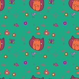 Cats pattern. Seamless patter with cat, birds, flowers and fish Royalty Free Illustration