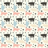 Cats pattern. Stylish colorful cats pattern background. Vector illustration royalty free illustration