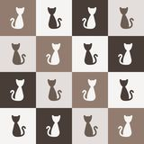 Cats pattern. Vector background of cats - chequered seamless pattern in modern simple style. Editable eps file available Royalty Free Stock Photos