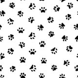 Cats paw print. Cat or dog paws footsteps prints, pets footprints and animal printed footstep tracks seamless pattern vector illustration