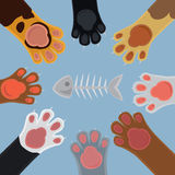 Cats paw set cartoon Royalty Free Stock Photography