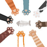 Cats paw set cartoon vector illustration royalty free illustration