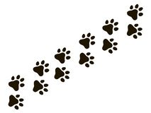 Cats paw trail. Footprints wolf cat dog, puppy trails nature print vector pattern. And background stock illustration