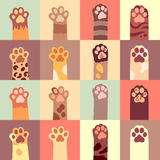 Cats paw vector flat icon set Royalty Free Stock Photo