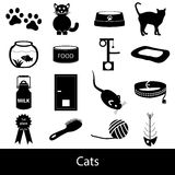Cats pets items. Simple black icons set Stock Photo