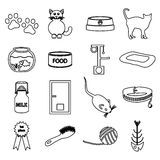 Cats pets items simple black outline icons set Stock Photo