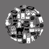 Cats pets items simple black and white icons in circle Royalty Free Stock Photos