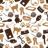 Cats pets items simple icons seamless color pattern eps10 Royalty Free Stock Photo