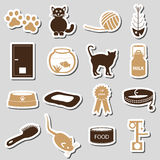 Cats pets items simple stickers set eps10 Stock Photo