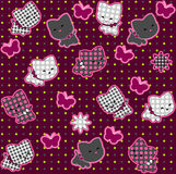 Cats. Pink Seamless Pattern. Cats playing. Seamless Pattern, Pink Backgrounds, Butterfly Royalty Free Stock Image