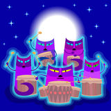 Cats playing drums. Cats play the drums. Cats are sitting on the background of the starry sky above their heads shines full moon. Vector illustration Royalty Free Stock Photos