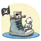 Cats playing pirate and sailing on shoes. Digital watercolor illustration of two cute kittens playing pirates on sneakers Stock Photos